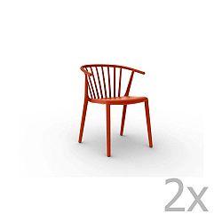 Sada 2 červených jídelních židlí Resol Woody