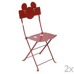 Sada 2 červených kovových zahradních židlí Fermob Bistro Mickey