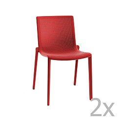 Sada 2 červených zahradních židlí Resol Beekat Simple