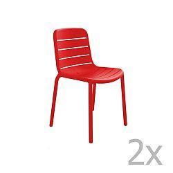 Sada 2 červených zahradních židlí Resol Gina Garden