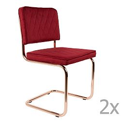Sada 2 červených židlí Zuiver Diamond