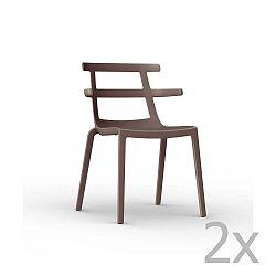 Sada 2 čokoládově hnědých zahradních židlí Resol Tokyo