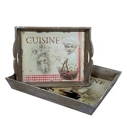 Sada 2 dřevěných podnosů Antic Line Cuisine