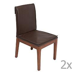 Sada 2 hnědých jídelních židlí s konstrukcí z dubového dřeva Santiago Pons Donato