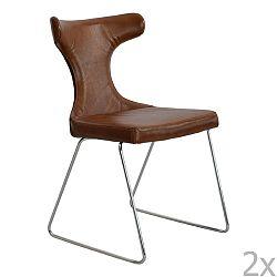 Sada 2 hnědých kožených židle RGE Moon