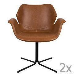 Sada 2 hnědých  židlí s područkami Zuiver Nikki