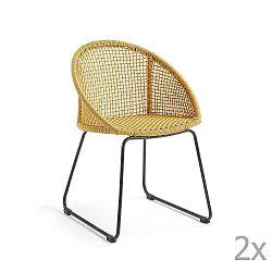 Sada 2 hořčicově žlutých židlí La Forma Sandrine