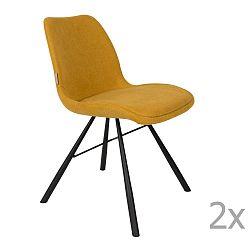 Sada 2 hořčicově žlutých židlí Zuiver Brent