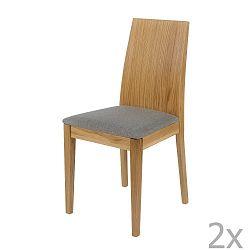 Sada 2 jídelních židlí s podnožím z masivního dubu Woodman Niemi