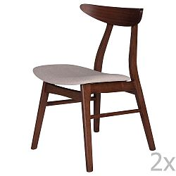 Sada 2 jídelních židlí z kaučukovníkového dřeva s béžovým podsedákem sømcasa Salma