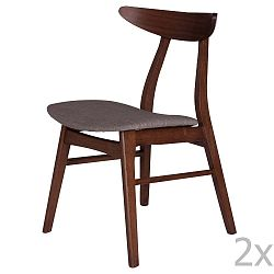 Sada 2 jídelních židlí z kaučukovníkového dřeva s šedým podsedákem sømcasa Salma