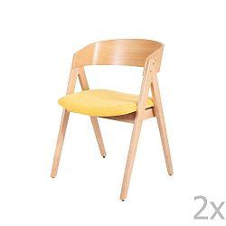 Sada 2 jídelních židlí z kaučukovníkového dřeva s žlutým podsedákem sømcasa Rina