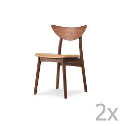 Sada 2 jídelních židlí z masivního ořechového dřeva s hnědým sedákem WOOD AND VISION Chief