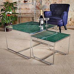 Sada 2 konferenčních stolků s podnožím ve stříbrné barvě a zelenou mramorovou deskou RGE Stella