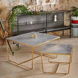 Sada 2 konferenčních stolků s podnožím ve zlaté barvě a šedou mramorovou deskou RGE Stella