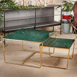 Sada 2 konferenčních stolků s podnožím ve zlaté barvě a zelenou mramorovou deskou RGE Stella