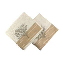 Sada 2 krémových bavlněných ručníků Infinity, 50x90cm
