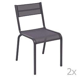 Sada 2 modrofialových kovových zahradních židlí Fermob Oléron