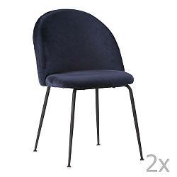 Sada 2 modrých jídelních židlí s černými nohami House Nordic Geneve