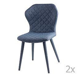 Sada 2 modrých jídelních židlí sømcasa Avery