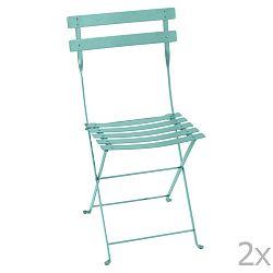 Sada 2 modrých kovových skládacích zahradních židlí Fermob Bistro