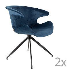 Sada 2 modrých židlí s područkami Zuiver Mia