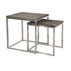Sada 2 odkládacích stolků s deskou z recyklovaného elmového dřeva Livin Hill Glamour