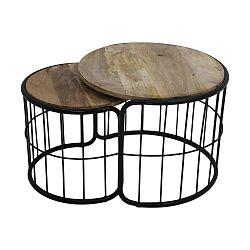 Sada 2 odkládacích stolků z mangového dřeva HSM collection Salon