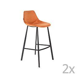 Sada 2 oranžových barových židlí se sametovým potahem Dutchbone, výška 106 cm