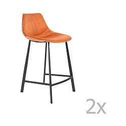 Sada 2 oranžových barových židlí se sametovým potahem Dutchbone, výška 91 cm
