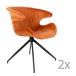 Sada 2 oranžových židlí s područkami Zuiver Mia