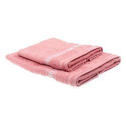 Sada 2 růžových ručníků Beverly Hills Polo Club Tommy Yazi