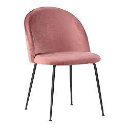 Sada 2 růžových sametových jídelních židlí House Nordic Geneve