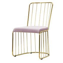 Sada 2 růžových židlí s konstrukcí ve zlaté barvě Mauro Ferretti Sedia
