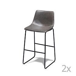 Sada 2 šedých barových židlí Knuds Indiana
