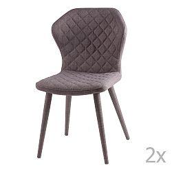 Sada 2 šedých  jídelních židlí sømcasa Avery