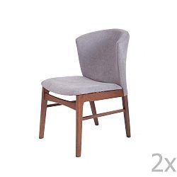 Sada 2 šedých jídelních židlí s tmavě hnědým podnožím z kaučukovníkového dřeva sømcasa Mara