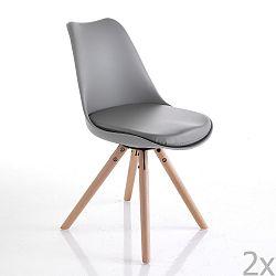 Sada 2 šedých jídelních židlí Tomasucci Kiki Wood