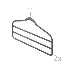 Sada 2 šedých věšáků na kalhoty Domopak Velvet Hangers
