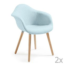 Sada 2 světle modrých jídelních židlí La Forma Kenna