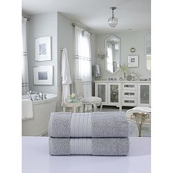 Sada 2 světle šedých bavlněných ručníků HIP, 70 x 140 cm