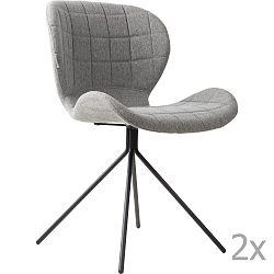 Sada 2 světle šedých židlí Zuiver OMG