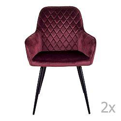 Sada 2 tmavě červených jídelních židlí House Nordic Oslo