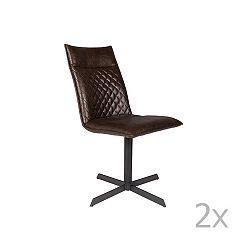 Sada 2 tmavě hnědých židlí White Label Ivar