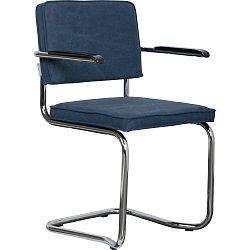 Sada 2 tmavě modrých židlí s područkami Zuiver Ridge Kink Rib