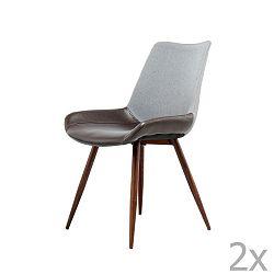 Sada 2 tmavě šedo-hnědých jídelních židlí 360 Living Brando