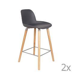 Sada 2 tmavě šedých barových židlí Zuiver Albert Kuip, výška sedu 65cm