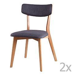 Sada 2 tmavě šedých jídelních židlí sømcasa Anais