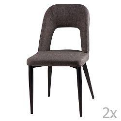 Sada 2 tmavě šedých jídelních židlí sømcasa Anika