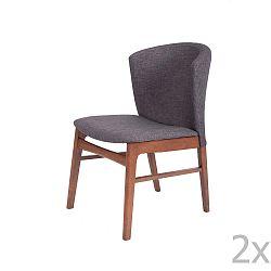 Sada 2 tmavě šedých jídelních židlí s tmavě hnědým podnožím z kaučukovníkového dřeva sømcasa Mara